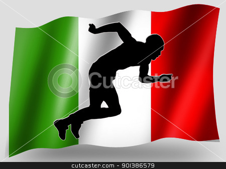 Country Flag Sport Icon Silhouette Italian Athletics stock photo, Country Flag Sport Icon Silhouette Series  Italian Athletics by Snap2Art