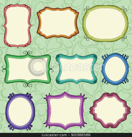Hand drawn frames stock vector clipart, Hand drawn frames (background is a seamless pattern). by wingedcats