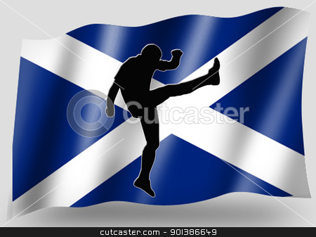 Country Flag Sport Icon Silhouette Scottish Rugby High Kicker stock photo, Country Flag Sport Icon Silhouette Series  Scottish Rugby Up and Under Kick by Snap2Art