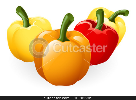 Sweet bell pepper illustration stock vector clipart, Illustration of a group of fresh tasty sweet peppers by Christos Georghiou
