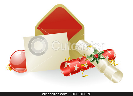 Christmas message concept stock vector clipart, Illustration of a Christmas message with crackers and baubles. Space for text etc. by Christos Georghiou