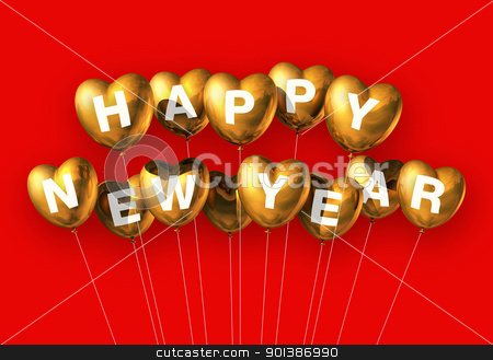 gold happy new year heart shaped balloons stock photo, gold Happy new year heart shaped balloons isolated on red by Laurent Davoust