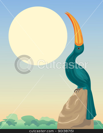 stylized hornbill stock vector clipart, an illustration of a stylized hornbill sitting on a rock with rainforest canopy under a big yellow sun by Mike Smith