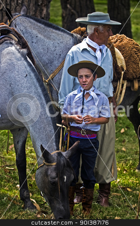 Gaucho festival stock photo, TACUAREMBO, URUGUAY - MAR 5 : Participants in the annual festival