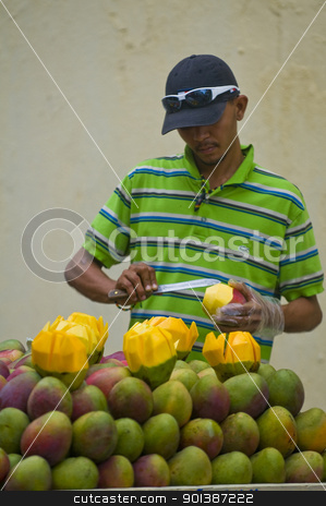 Colombian fruit seller stock photo, CARTAGENA DE INDIAS , COLOMBIA - DEC 21:Unidentified colombian man sell fruits in the street of Cartagena de Indias on December 21 2010 by Kobby Dagan