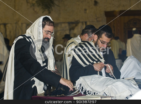Selichot stock photo, JERUSALEM - SEP 26 : Jewish men prays during the penitential prayers the