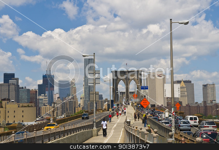 Brooklyn bridge stock photo, NEW YORK - JUNE 30 2011 :View of the Broolyn bridge and the skyline of Manhatan by Kobby Dagan