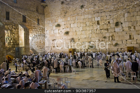 Selichot stock photo, JERUSALEM - SEP 26 : The Wailing wall during the penitential prayers the