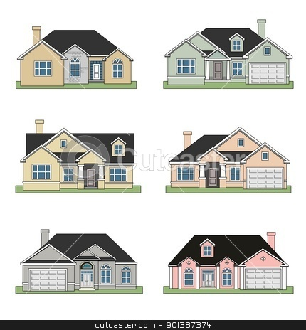 Six ranch homes stock photo, An illustration of Six different beautiful ranch homes by Sreedhar Yedlapati