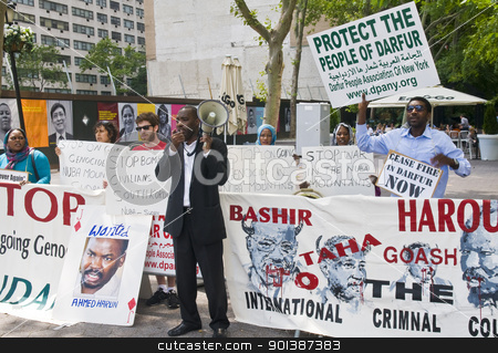Sudan demonstration  stock photo, NEW YORK -  JUNE 27 2011 : Unitentified participants in a demonstration against the government of Sudan in front of the UN offices in New York city on June 27 2011 by Kobby Dagan