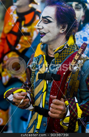 Carnaval in Montevideo stock photo, MONTEVIDEO, URUGUAY - JANUARY 27 2011 : A costumed carnaval participant in the annual national festival of Uruguay ,held in Montevideo Uruguay on January 27 2011  by Kobby Dagan