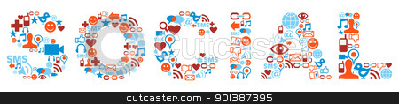 Social word with media icons texture stock vector clipart, Social word made with media icons set. by Cienpies Design
