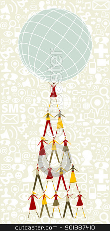 Social media Christmas tree of people holding the world stock vector clipart, Pyramid as Christmas tree of people holding the world with social icons pattern background. by Cienpies Design