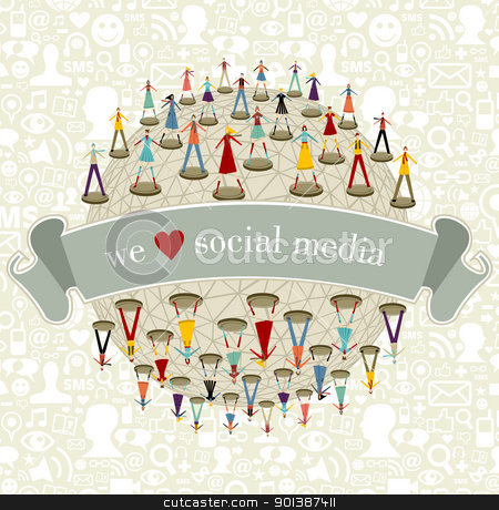 We Love social media network stock vector clipart, We love social media network connection concept with social icons pattern background by Cienpies Design