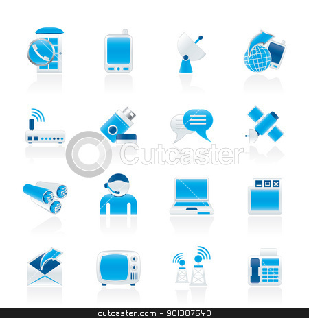 Communication, connection  and technology icons stock vector clipart, Communication, connection  and technology icons - vector icon set by Stoyan Haytov