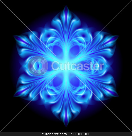 Abstract blue snowflake stock photo, Abstract blue snowflake.  Illustration on black background  by dvarg