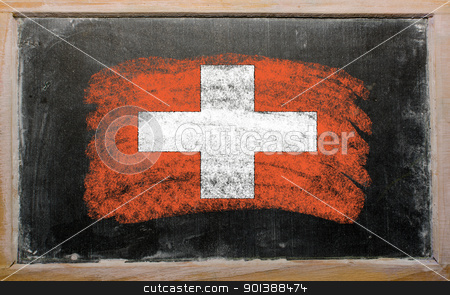flag of schwitzerland on blackboard painted with chalk   stock photo, Chalky swiss flag painted with color chalk on old blackboard by Vedran Vukoja