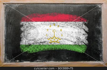 flag of tajikistan on blackboard painted with chalk   stock photo, Chalky tajikistan flag painted with color chalk on old blackboard by Vedran Vukoja