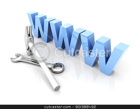 WWW - Under Construction stock photo, 3D Illustration. Website is under construction. by Michael Osterrieder
