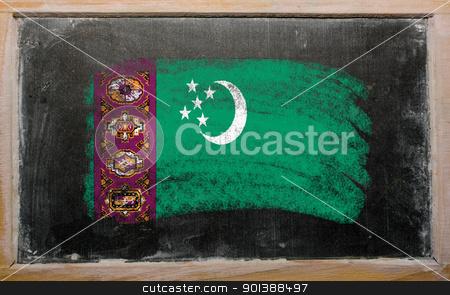flag of turkmenistan on blackboard painted with chalk   stock photo, Chalky turkmenistan flag painted with color chalk on old blackboard by Vedran Vukoja