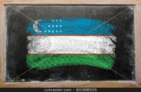 flag of uzbekistan on blackboard painted with chalk   stock photo, Chalky uzbekistan flag painted with color chalk on old blackboard by Vedran Vukoja