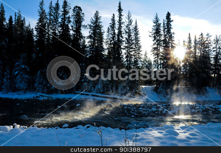 Steaming river in winter stock photo, Steaming river in winter due to geological circumstances by Ulrich Schade