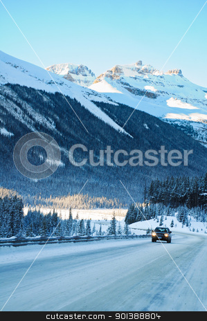 Highway in Winter through mountains stock photo, Highway in Winter through mountains little traffic by Ulrich Schade