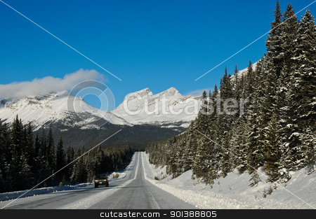 Highway in Winter through mountains stock photo, Highway in Winter through mountains by Ulrich Schade