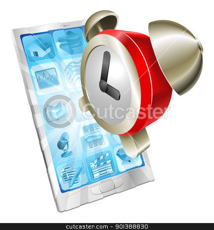 Alarm clock icon phone concept stock vector clipart, Alarm clock icon coming out of mobile phone screen concept by Christos Georghiou