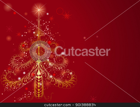 Beautiful gold Christmas tree background stock vector clipart, Background illustration of a beautiful golden Christmas tree pattern on red by Christos Georghiou