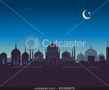 islamic skyline stock vector clipart, an illustration of an exotic islamic skyline under a starry night sky by Mike Smith