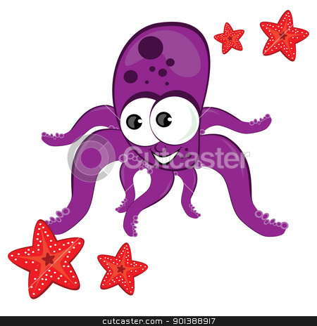Cartoon illustration of octopus with starfish stock photo, Cartoon illustration of octopus with starfish Isolated on white  by dvarg