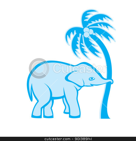 Elephant and palm tree stock photo, Elephant is pulling out the palm tree by dvarg