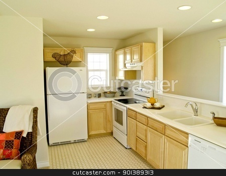 Tiny kitchen stock photo, Pretty white galley kitchen by Cora Reed