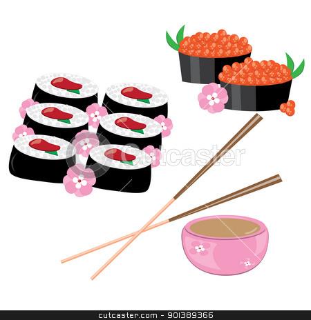 Japanese rolls stock photo, Japanese rolls, chopsticks on a white background by dvarg