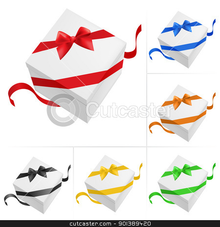 Gift boxes stock photo, Vector illustration of 6 gift boxes with ribbon on white background by dvarg