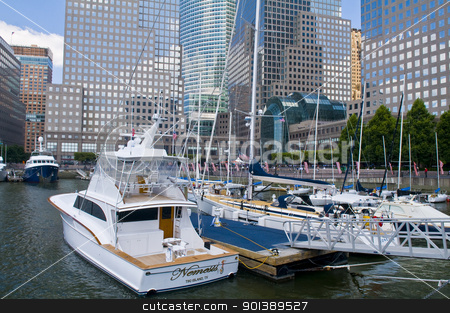 New York marina stock photo, NEW YORK -  JUNE 30 2011 : Yachts at the Hudson river in New York city , USA by Kobby Dagan