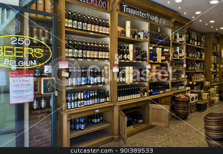 Belgian beer store stock photo, BRUSSELS - JULY 2 2011 : Beer store in the center Brussels Belgium  by Kobby Dagan