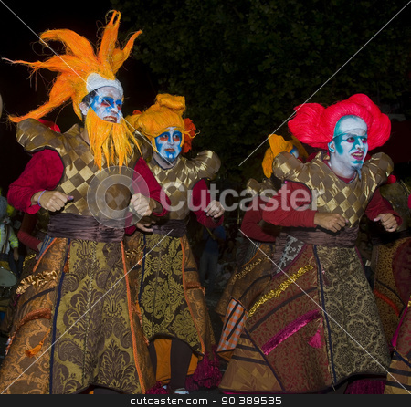 Carnaval in Montevideo stock photo, MONTEVIDEO, URUGUAY - JANUARY 27 2011 : A costumed carnaval participants in the annual national festival of Uruguay ,held in Montevideo Uruguay on January 27 2011  by Kobby Dagan