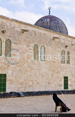 El Aqsa mosque stock photo, JERUSALEM - NOV 03 : Palestinian woman seat near