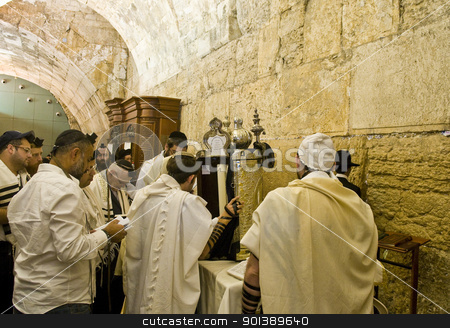Selichot stock photo, JERUSALEM - SEP 26 : Jewish old man prays during the penitential prayers the