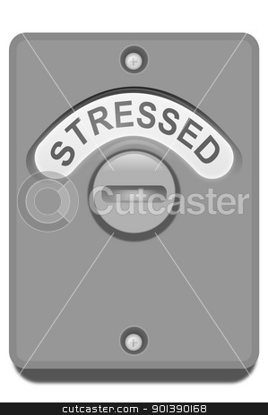 Locked in stress. stock photo, Illustration of a toilet door turning lock with the 'stressed' word position showing. White background. by Samantha Craddock