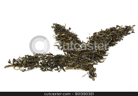 Tea leaves stock photo, Leaves make from dry tea by vtorous