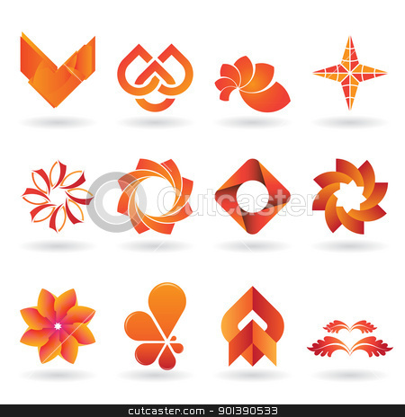 Contemporary Orange Logo and Icon Collection stock vector clipart, A collection of modern and and fresh logos or icons in orange tones, 12 original pieces by HypnoCreative