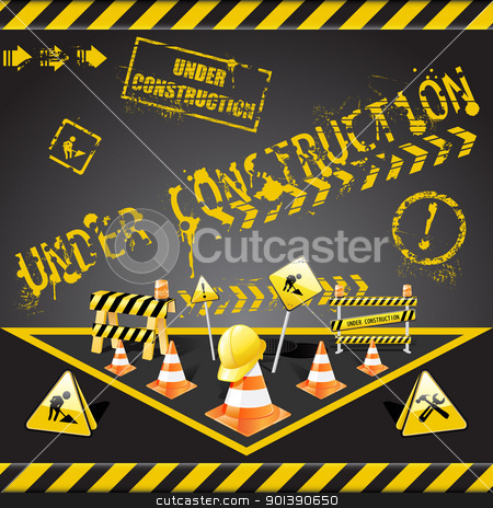 Under construction warning stock vector clipart, Vector set of  under construction elements with yellow and black stripes  by Vladimir Gladcov