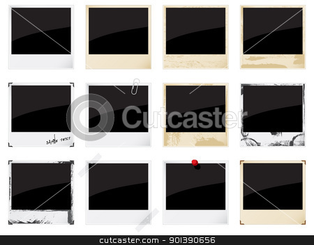 Empty instant photo frames   stock vector clipart, Set of vector empty instant photo frames  on white by Vladimir Gladcov
