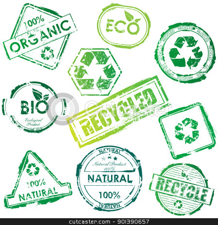 Vector eco stamps stock vector clipart, Set of vector green bio and eco stamps by Vladimir Gladcov