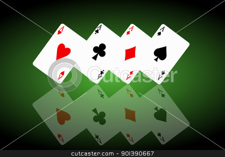 Feeling lucky concept. stock photo, Illustrated four ace cards standing in formation on their corners and reflecting into foreground. Black and green background. by Samantha Craddock