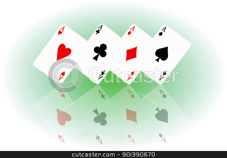 Feeling lucky concept. stock photo, Illustrated four ace cards standing in formation on their corners and reflecting into foreground. by Samantha Craddock
