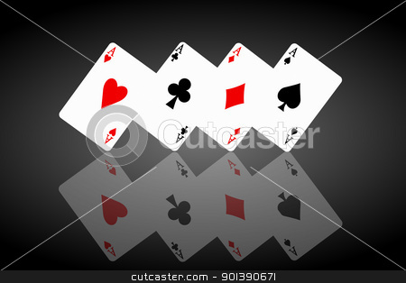 Feeling lucky concept. stock photo, Illustrated four ace cards standing in formation on their corners and reflecting into foreground. Black background. by Samantha Craddock